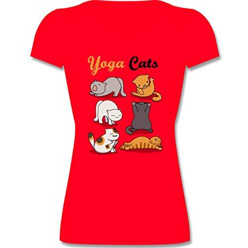 Tiermotive Kind - Yoga Cats - 164 (14-15 Jahre) - Rot - F288K - Kinder Mädchen T Shirt leicht tailliert (T-shirt Yoga Kinder)