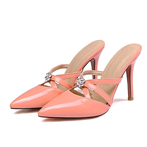 Crystal SpikeHigh Heels Sandals Women Sexy Pointed Toe Pumps Slippers Shoes Woman Patent Summer Ladies WeHOTSTREEing Shoes Stilettos Pink As Showed F98 4