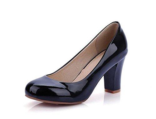 PBXP Pumps Büros Chunky Mid Heel Runde-toe Frauen Casual Hochzeit Elegante Schuhe Aprikose Weiß Rot Schwarz Europa Größe Innerhalb Biger Größe 31-47 Black