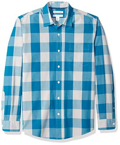 Amazon Essentials Slim-Fit Long-Sleeve Plaid Button-down-Shirts, Teal Buffalo Check, US XXL (EU XXXL-4XL) Teal Buffalo