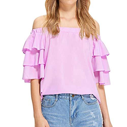 JUTOO Mode Frauen Kurzarm Aus der Schulter Rüschen Casual T-Shirt Bluse(Rosa,EU:46/CN:XL)