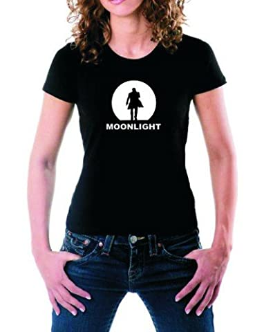 MOONLIGHT T-SHIRT schwarz/weiss/GIRLY Alex O'Loughlin GR.XL