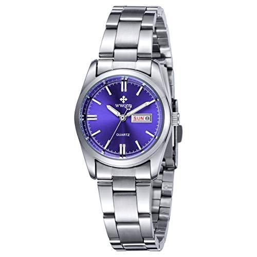 WWOOR Minimalistisches Uhren Damen Automatik Armbanduhr mit Datum Edelstahl Casual Klassisch Uhr Frauen