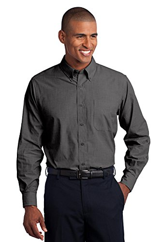 Port Authority® Tall Crosshatch Easy Care Shirt. TLS640 Soft Black XLT -