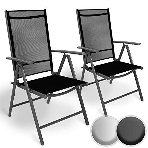 Set di alluminio sedie da giardino | pieghevole, con braccioli, seduta confortevole e reclinabile | sedia da esterno ideali per balcone, patio o giardino (set di 2, grigio scuro)