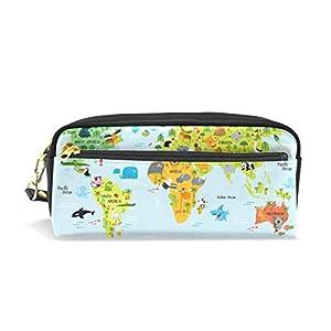 jstel mapa del mundo con animales escuela lápiz bolsa para bebés de los niños Niños Adolescentes soporte para bolígrafos de maquillaje bolsa mujer duradera gran capacidad bolsa de papelería