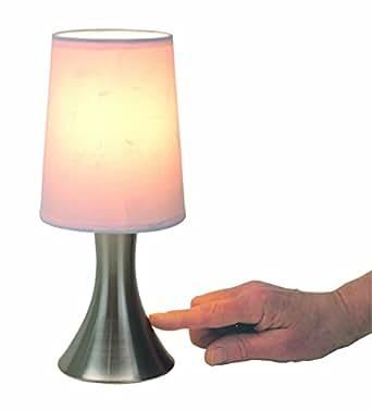 tischlampe mit dimmer mit touch me funktion 3 stufen mit edelstahlfuss mit weissem lampenschirm. Black Bedroom Furniture Sets. Home Design Ideas