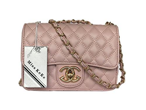 Handtaschen Material (Handbag Miss KeKe 2018 neue Welle Paket Kuriertasche Damen weiblichen Beutel Handtaschen für Frauen Handtasche-DarkPink)