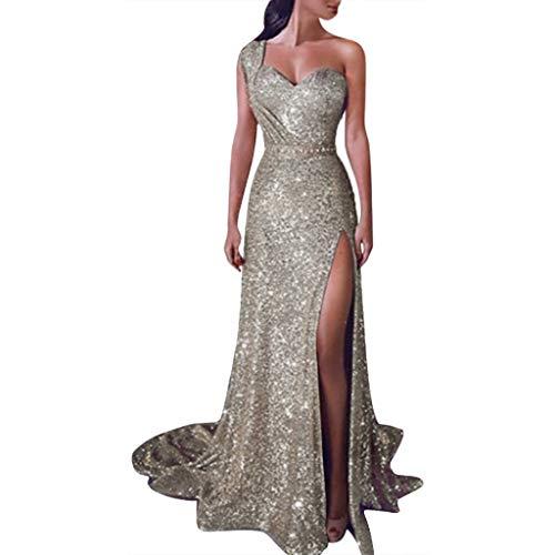 tten Prom Party ballkleid sexy Gold Abend Brautjungfer v-Ausschnitt langes Kleid ()