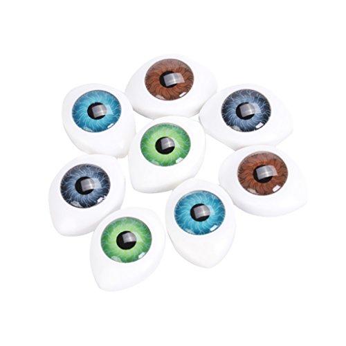 4 Farbe 8 Stück Oval Hohlkreuz Plastikaugen Puppenaugen für Puppen Maske DIY 10mm