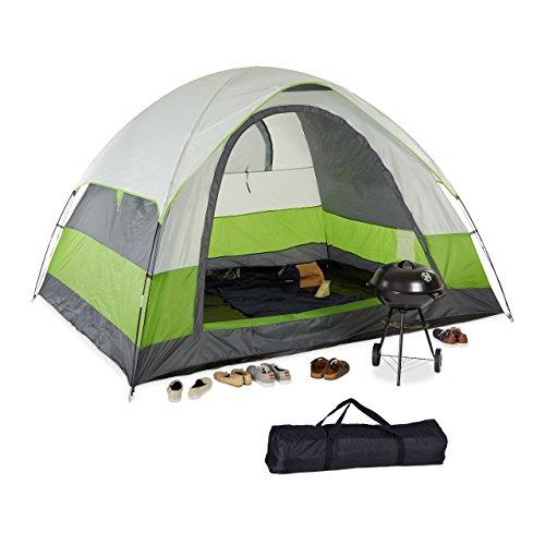 Relaxdays 10023318 Tenda a Cupola da Campeggio, Trekking, 4-5 Posti, Impermeabile, UV 30+, HxLxP: 180 x 300 x 240 cm, Verde