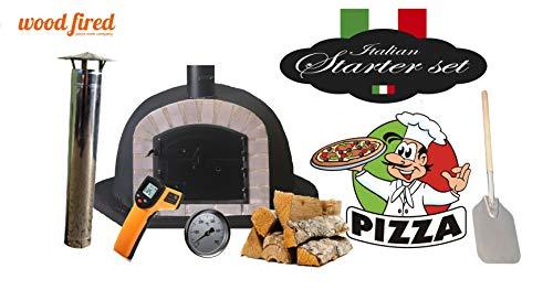 Black Deluxe Corner Extra Wood Fired Pizza Oven Starter Kit, Grey Arch, Black Door, 80cm x 80cm