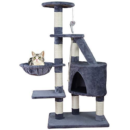 MC Star Árbol para Gato con Rascador de 120cm,Arañazo Juguete de Gatos de Sisal Natural,Gris