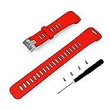 Correa de repuesto de silicona blanda Cyeeson para el reloj de pulsera inteligente rastreador de actividad Garmin Vivosmart HR., rojo