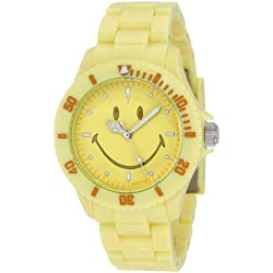 "Smiley ""Happy Time"" Ladies Pretty Pastel Yellow Analogue Watch WGS-PPYV01"