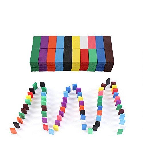 Zerodis 100Pcs Holz Domino Block Set Bunte Dominosteine Pädagogische Spielzeug Geburtstag Geschenk für Kinder Jungen Mädchen (Holz Domino Set)