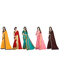Florence Art Silk with Blouse Piece Saree (Pack of 5) (FL-Combo5_6_Multicolour_One Size)