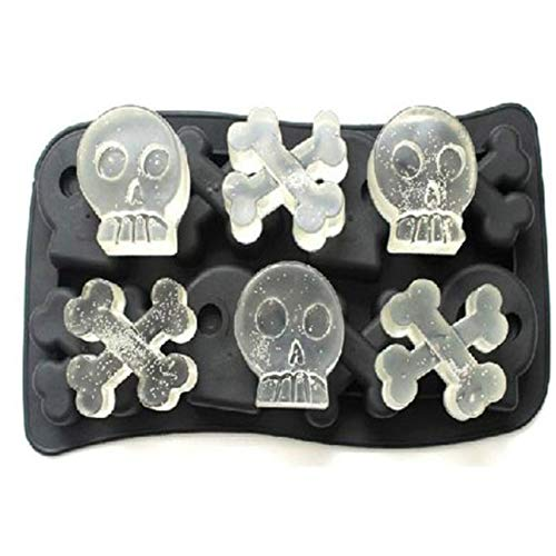 Halloween 3D Skull Ice Cube Mold With Lid Flexible Food Grade Silicone Ice Cub