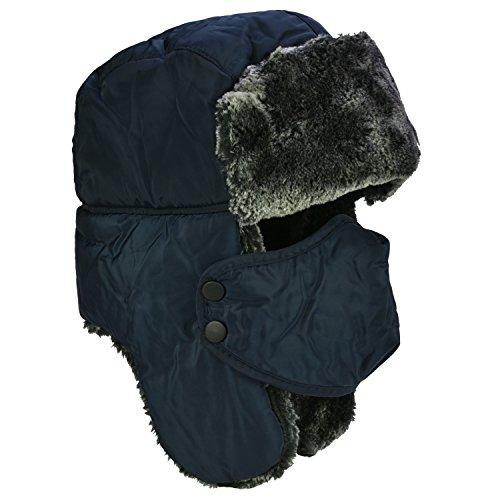Unisex Winter Ohr Klappe, Trooper, Trapper, Bomber Hat, Warm halten während Skaten, Skifahren oder anderen Outdoor-Aktivitäten, Navy Blue + Grey Fur (Bomber Trapper)