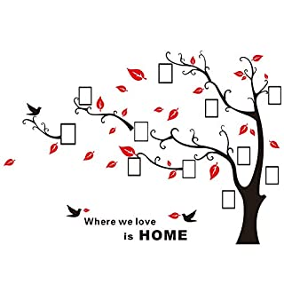 Alicemall 3D Wall Stickers Family Tree Wall Decal Black Red DIY Photo Gallery Frame Decor Sticker Home Art Decor (red-right)