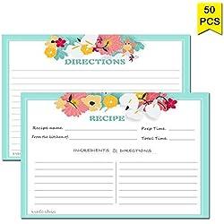 Rezept-Karten 10,2x 15,2cm von Nardo Visgo, Satz von 50 doppelseitige Karten Hochzeit Brautparty-Karten, qualitativ hochwertiger, dicker Karton Mint Green Border
