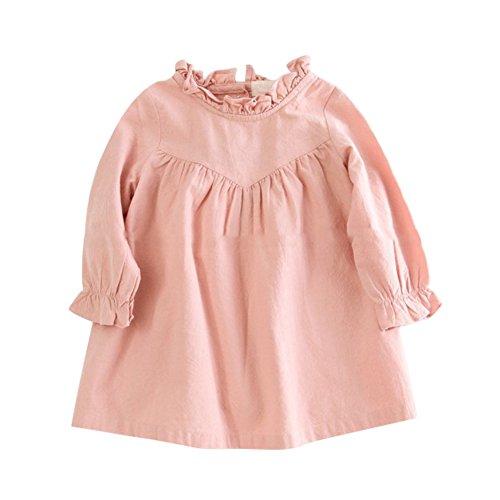 Brightup Baby Kinder Frühling Kleid Mädchen Langarm Kleid 2018 Kleidung Outfits Prinzessin Kleid Baumwolle Leinen Kleid Rüschen Prinzessin Kleid (Leinen-baumwoll-kleid)