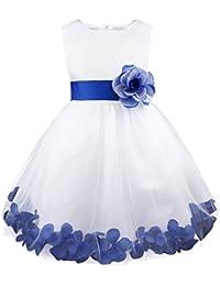 Freebily Vestido Elegante Boda Fiesta con Flores para Niña Vestido Blanco de Princesa para Chica Dama