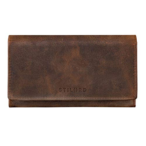 STILORD \'Marquesa\' Leder Geldbörse Damen RFID Schutz NFC Portmonnaie Damen Vintage Geldbeutel Groß Quer mit Ausleseschutz in Geschenkbox Echtleder, Farbe:Sepia - braun Plain