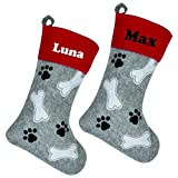 Personalised Christmas Pet Dog Cat Stocking For Treats and Xmas Gifts