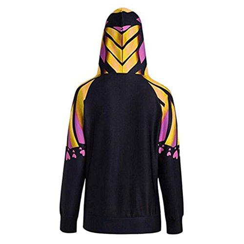 Femmes Sweat-shirt à capuche Pull-over Lady Manteau chaud Coton Sweatshirts Vestes Capuche Haut Hoodies Chandail à manches longues Imprimé Veste Juleya Jaune
