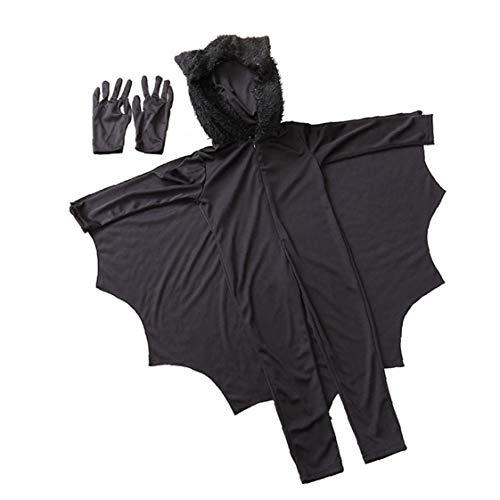 MICHAELA BLAKE Vampire Bat Halloween-Kostüm-Kind-Mädchen-Jungen Fancy Tier Bat Anzieh mit Handschuhe für Halloween-Party-Dekoration Blacks (Molkerei Mädchen Kostüm)