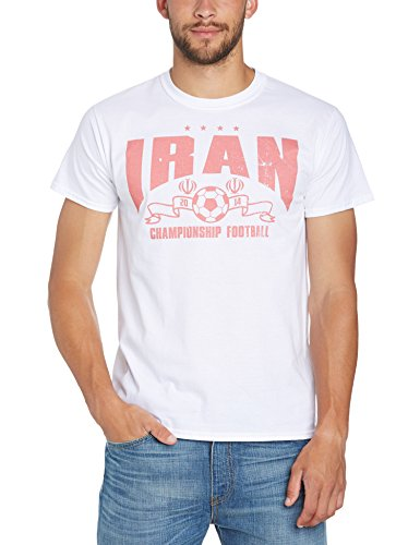 Football Fan Herren T-Shirt World Cup Football 2014 Iran Arched Mens T-shirt Weiß - Weiß