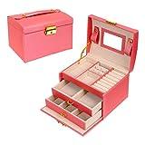 Schmuckbox, Schmuck Oganiser, DREI Lagen PU Leder Schmuck Storage Box mit Spiegel und Schloss, für Mädchen und Frauen (Pink)