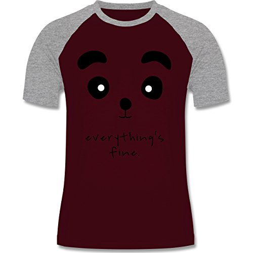 Shirtracer Eulen, Füchse & Co. - Panda Everything's Fine - Herren Baseball Shirt Burgundrot/Grau meliert