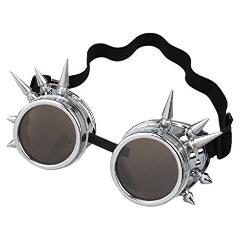 TUDUZ Vintage StilRivet Steampunk Winddicht Spiegel Weinlese Gotische Objektive Goggles Cosplay Brille ()