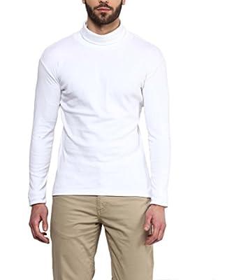 Hypernation White Color Cotton High Neck Cotton T-shirt