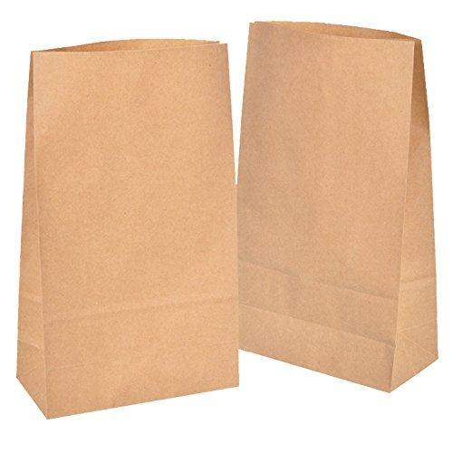 50 Kraft marrón bolsas de papel con base 18 x 30 x 8 cm, 70 gr./m2. papel para envolver pan galletas y dulces de panadería. Ideal para bolsas de regalo, bolsas de fiesta, calendario de adviento.