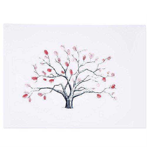 Fingerabdruck Baum Hochzeits Baum Leinwand Unterschrift Gästebuch Mit 6 Farben Tinte für Geburtstag Hochzeit(#1)