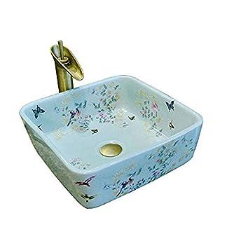 41j8VdeC2dL. SS324  - Yuye Lavabo cuadrado para baño de flores y pájaros Lavabo de lavabo de tamaño pequeño Lavabo de baño de cerámica anti-salpicaduras para hotel Lavabos de baño