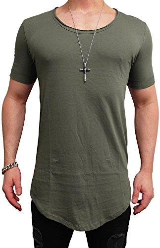 Herren Oversize Designer T-Shirt Tee Longshirt basic slim-fit kurzarm lange Oversized männer ausschnitt long men mens fit sweatshirt shirts neck v rundhals grau sportive langarm hemd mode baumwolle (M, Khaki)