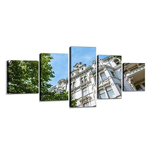 Haersmone Alte Apartment Haus in Berlin Leinwandbild Leinwanddrucke Moderne Kunstdruck Gemälde Foto mit Holzrahmen Schlafzimmer Wohnzimmer Büro Dekoration 5 Teilig