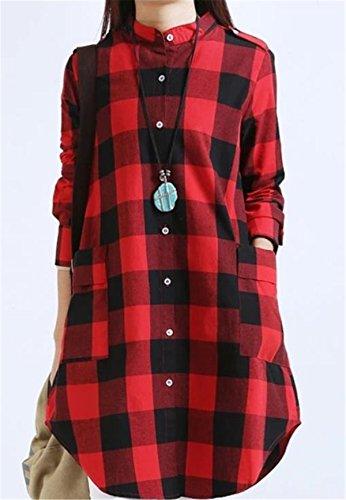 SHUNLIU Frauen Einfach Plaid Baumwollhemd Langarm Lange Freizeit Hemd Schlank Hemd Bluse Hemd Rot