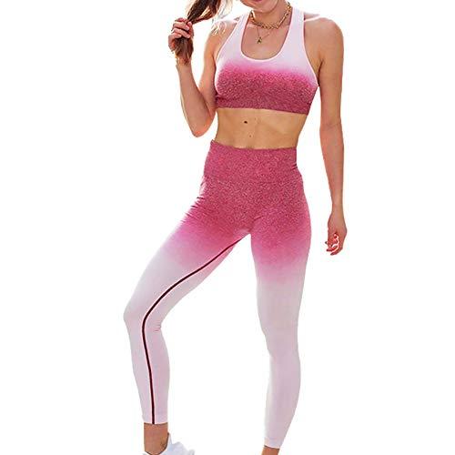 Baywell Damas Conjunto Ropa De Deporte Traje Mujer Bra Chaleco + Pantalon Fitness Leggings Jogging Yoga Set Moda Chandal Verano Sportswear Outfits para Gym Running Pilates Fitness Workout 2PC