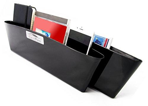 Auto Organizer - Sitzablagefach – 2er Set - füllt Lücke zwischen Sitz und Mittelkonsole - für Handy, Schlüssel etc. - Fahrersitz und Beifahrersitz - Utensilientasche - Pocket Catcher - Car Seat Seiten-Schlitz-Tasche - Sitzseitentasche - Sitz Tasche - Drop Schutz - Autositz Organiser - einfache Reinigung - schwarzer Kunststoff - stabiles Material - Passt in die meisten PKWs
