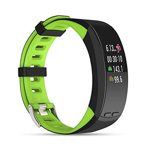 QUARKJK Professionelle GPS Sport Armband Smart Band Farbanzeige Pulsmesser Armband Barometer Aktivität Fitness Tracker,Green