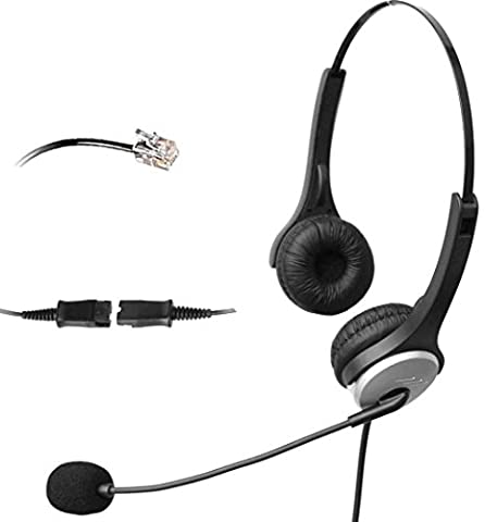 4Call H502QMA Corded RJ Telephone Headset with NC Microphone +QD+VC for Aastra Nortel Nec Mitel ShoreTel Toshiba Siemens GE InterTel Sprint Talkswitch Iwatsu Packet8 ESI Allworx 3Com Office IP Phones