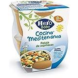Hero Baby Cocina Mediterránea Potaje de Espinacas, Tarrina de Plástico - Paquete de 2 x 200 gr - Total: 400 gr - [Pack de 6]