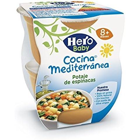 Hero Baby Cocina Mediterránea Potaje de Espinacas, Tarrina de Plástico - Paquete de 2 x 200 gr - Total: 400 gr