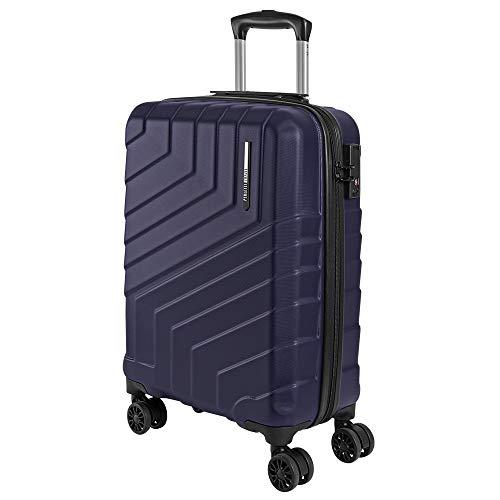 Valigia Trolley da Viaggio Rigida - Idonea Ryanair e Easyjet 55x40x20 cm 44 Litri- Bagaglio a Mano Ultra Leggero in ABS con Chiusura TSA e 4 Ruote Doppie Girevoli - Perletti Travel (Blu, S)