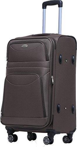 BEIBYE 8009 TSA Schloß Stoff Trolley Reisekoffer Koffer Kofferset Gepäckset (Braun, L)